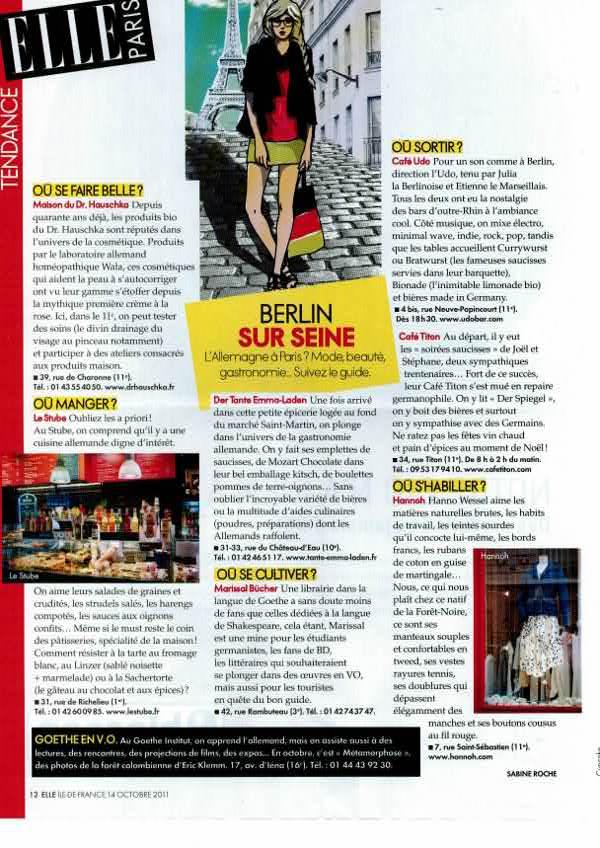 Elle Paris du 14/10/2011, par Sabine Roche