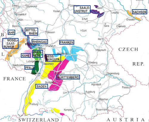 carte des régions viticoles