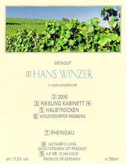 une étiquette de vin allemand
