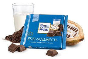 7- Ritter Sport Edel-Vollmilch 35% cacao 100g