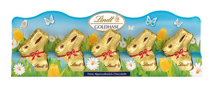 Lindt 5 Goldhäschen aus Vollmilchschokolade 50g