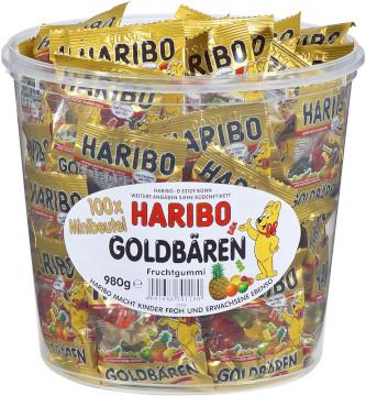 3- Haribo Goldbären frucht gummi mini 1000g für 100 mini beutel
