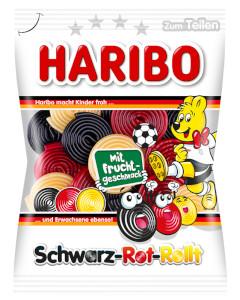 4- Haribo Schwarz-Rot-Rollt mit Frucht Geschmack 175g