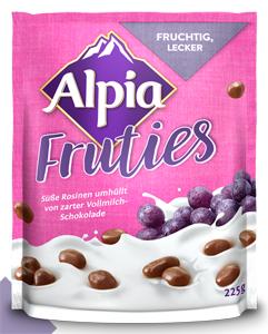 Alpia Fruties süss Rosinen umhüllt von zarter Vollmilch-schokolade