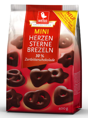 Weiss Mini Herzen Sterne Brezeln mit Zartbitterschokolade (400g.)