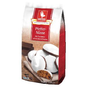 Weiss Pfeffernüsse mit Zartbitter Schokoladenboden 200g