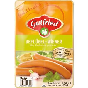 3- Gutfried Geflügel-Wiener Geräuchert 320g für 4 paar