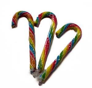 CHRISTMAS Rainbow Candy Canes (Canes Weihnachts) 28g x 10 pcs