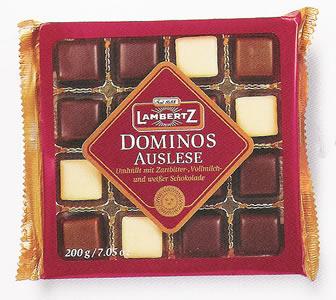 Lambertz Dominos Auslese Zartbitter,Vollm.,weisse Schokolade 200g