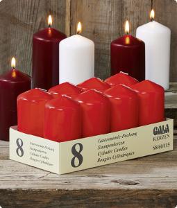 Gala Kerzen Stumpen 6 x 11,5cm Rot für 2er