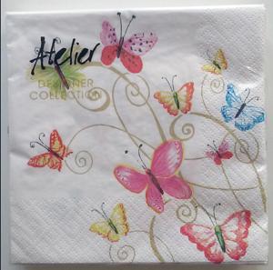 Braun + Company Papierservietten bunte Schmetterlinge 20 Stück