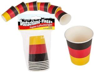 Deutschland-Flagge Pappbecher ca. 250ml / 6Stück x 3er