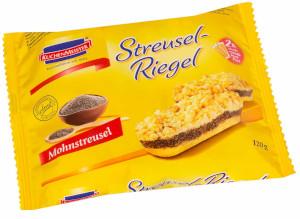 3- Kuchenmeister Streusel-Riegel Mohnstreusel 120g für 2er x 60g