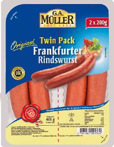 4- Müller Twin Pack Frankfurter Rindswürstchen 400g