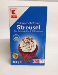 2- K Classic Milchschoko Streusel für Gebäck, Ei & Süssspeisen 400g
