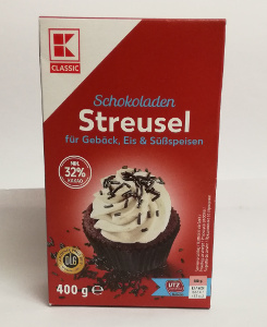 K Classic Schokoladen Streusel für Gebäck, Ei & Süssspeisen 400g