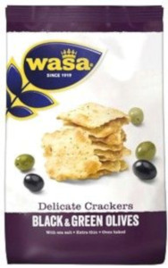 Wasa Delicate Crackers Black & Green Olives 150g