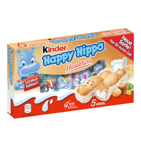 1- Kinder Happy Hippo Haselnuss Limited Edition 5 Riegel à 20,7g