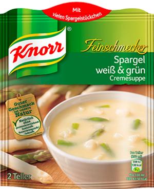 Knorr Feinschmecker Spargelcreme Suppe weiss & grün 2 Teller