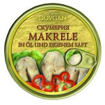Dovgan Makrele in Öl und eigenem Saft (240g)