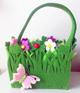 Oster Filz Henkelkorb grün mit Blumen u Schmetterling